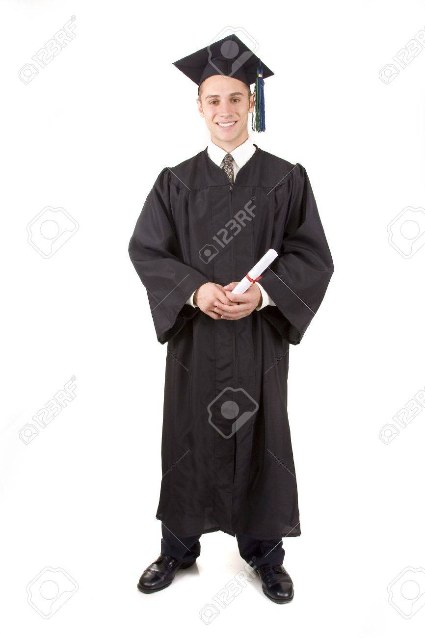 Young Male Graduate In Cap And Gown Stock Photo, Picture And Royalty ...