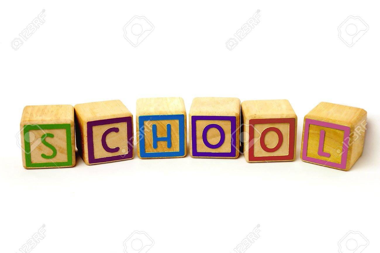 School Word Made From Coloured Wooden Blocks Stock Photo, Picture ...