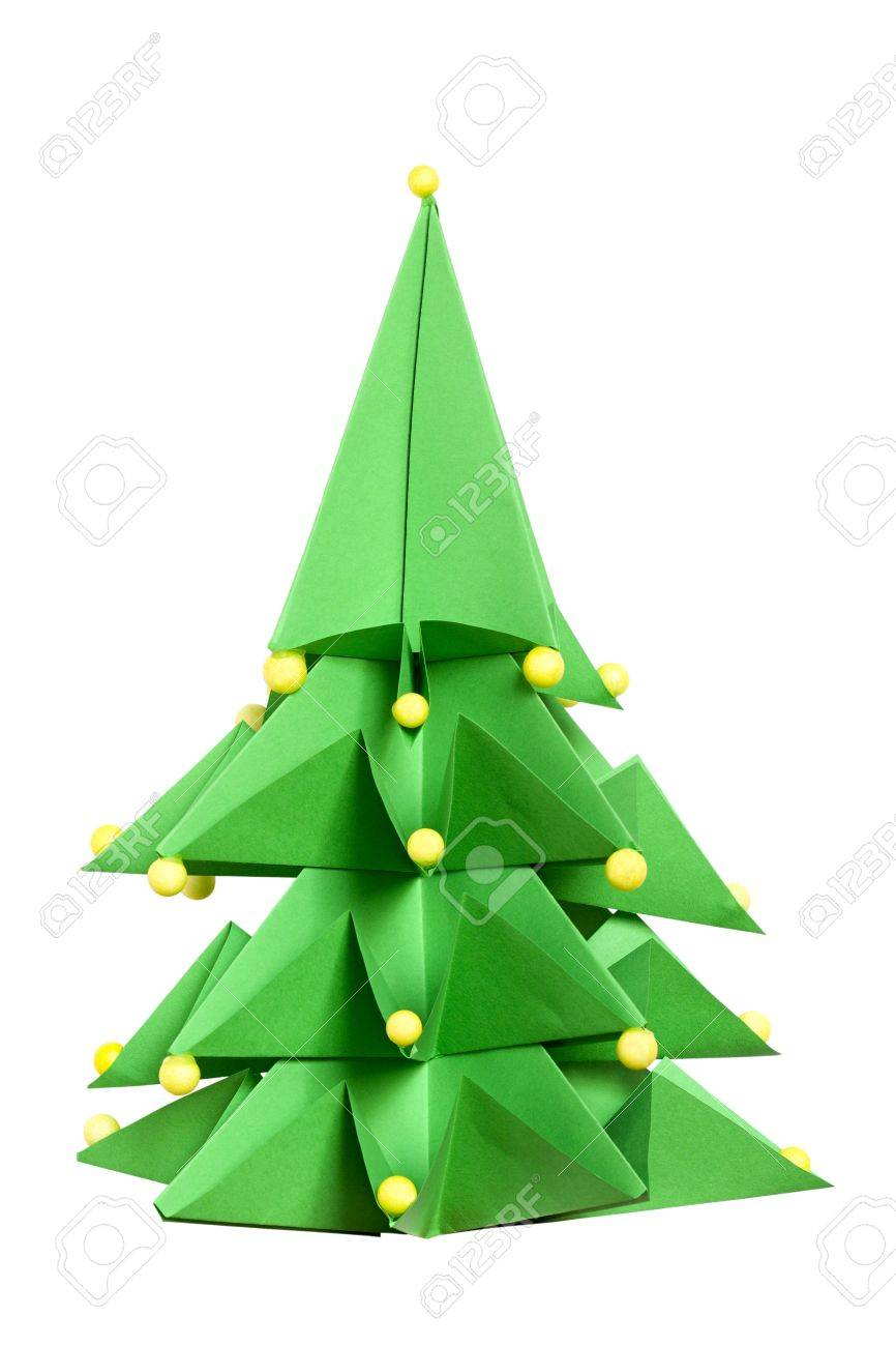 Grenn Paper Christmas Tree, Origami Christmas Tree Made Of Paper Origami  Evergreen Tree Isolated On