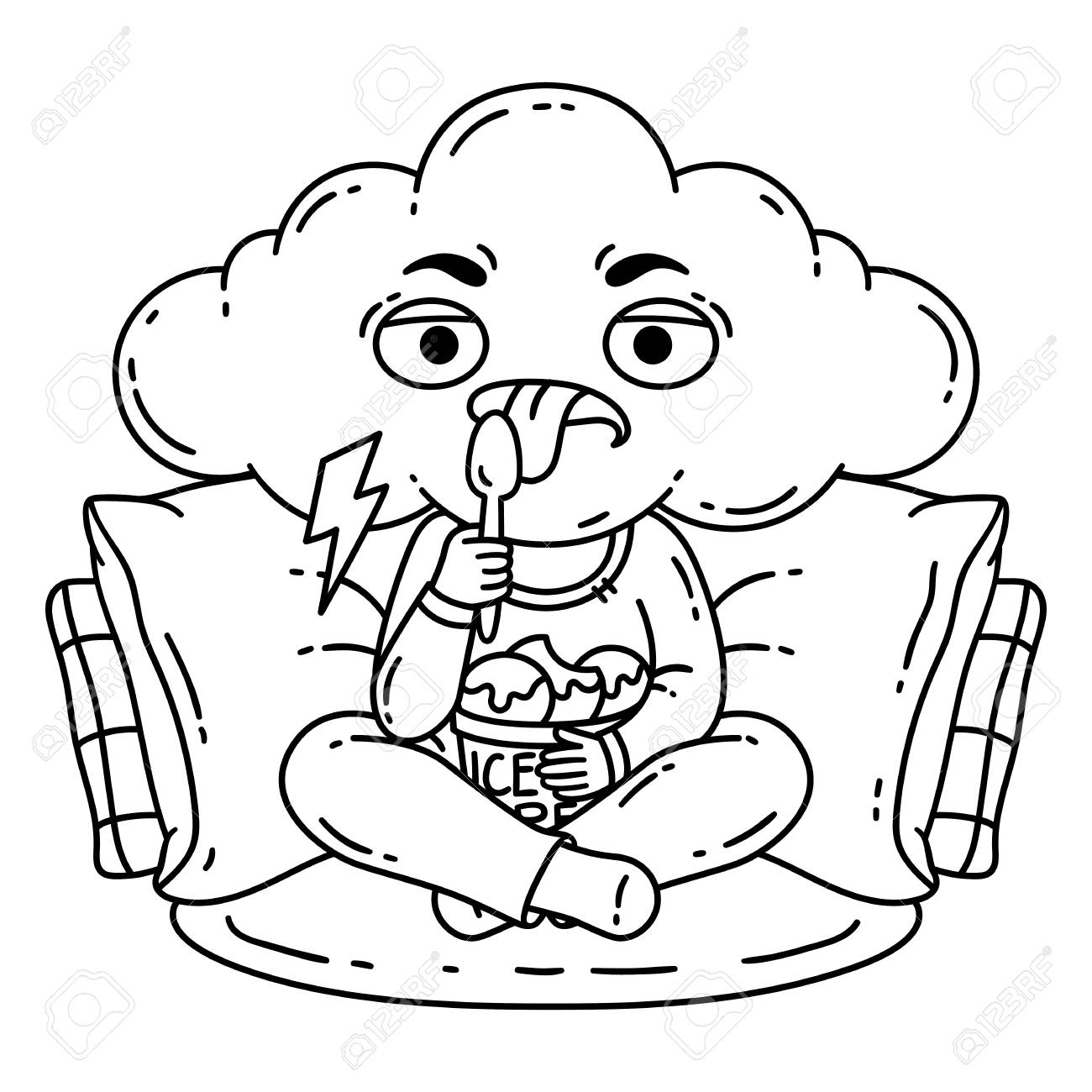 Frustrated Bad Mood Person Eat Ice Cream Illustration For Coloring Pages Outline