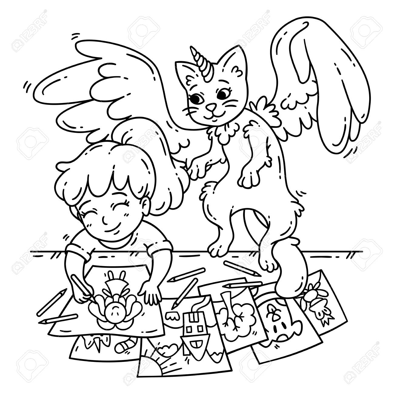 Little Girl Pick Flower In Garden Coloring Pages : Color Luna | 1300x1300
