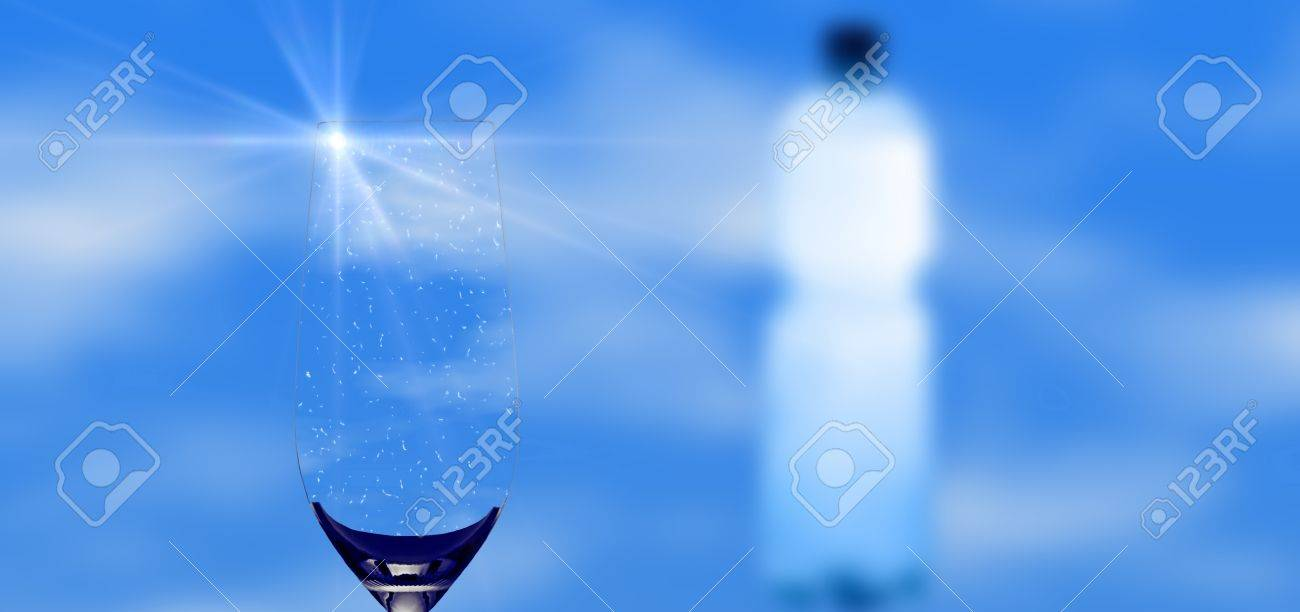 mineral water and bottle with sun light reflection on the glass rim Stock Photo - 8509097