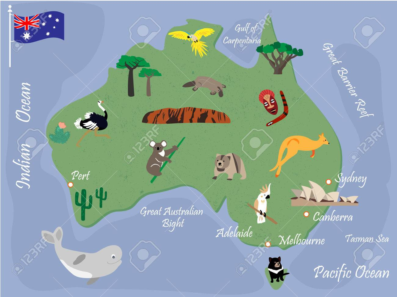 Australia Map Landmarks.Australian Map With Animals And Landmarks