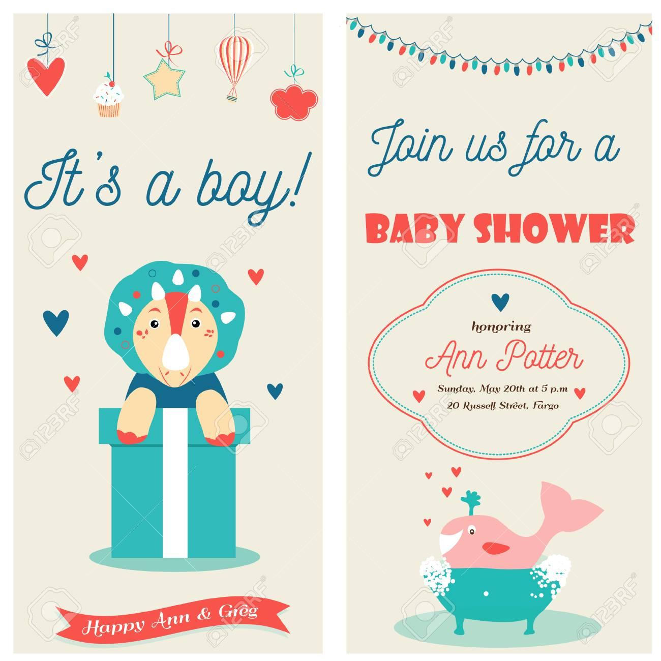 Baby Shower Doble Tarjeta De Invitación Con Un Lindo Dinosaurio Y Ballena Es Un Niño