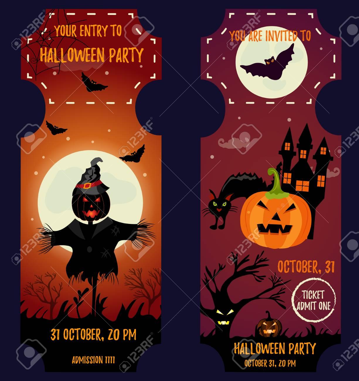 Ticket Halloween Party Invitation Template Halloween Background