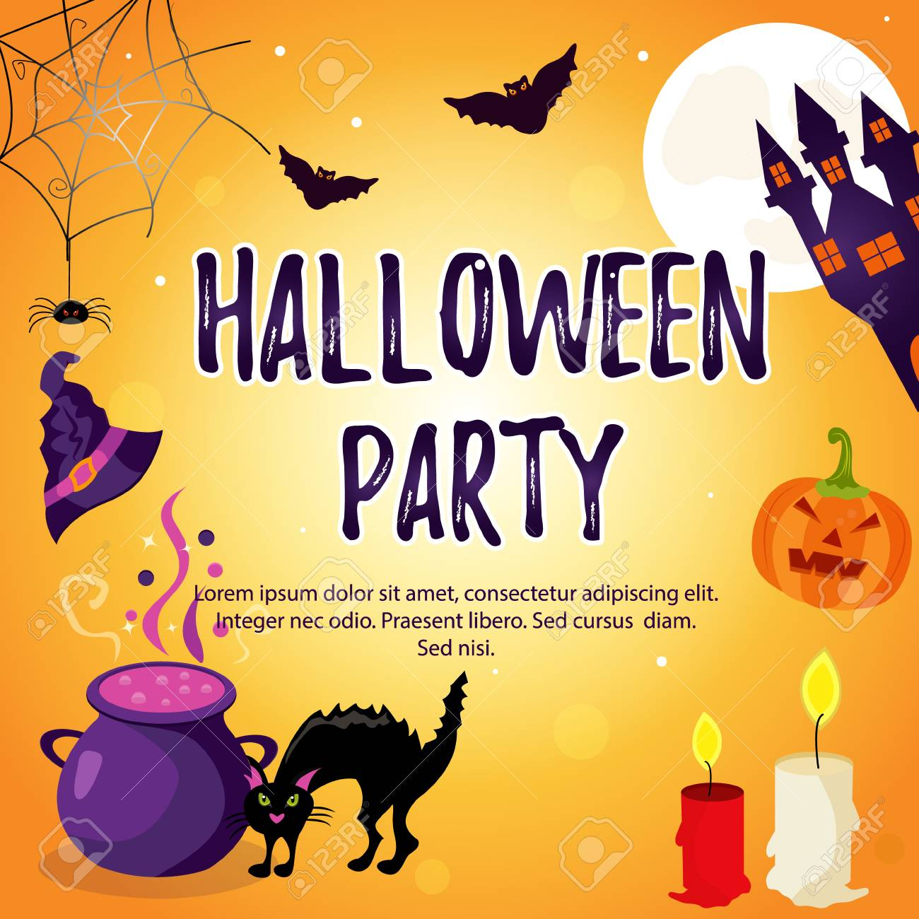 halloween holiday background with bright characters party invitation template stock vector 85552183