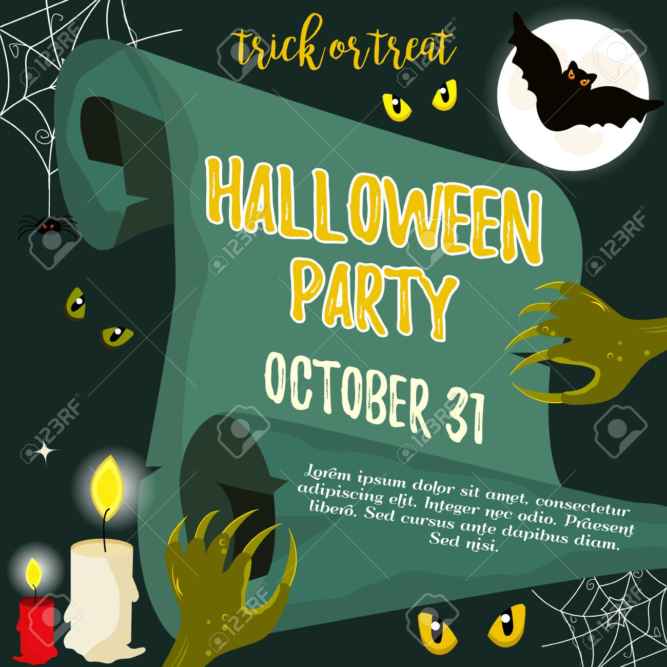 halloween invitation template with scary creatures and bat royalty