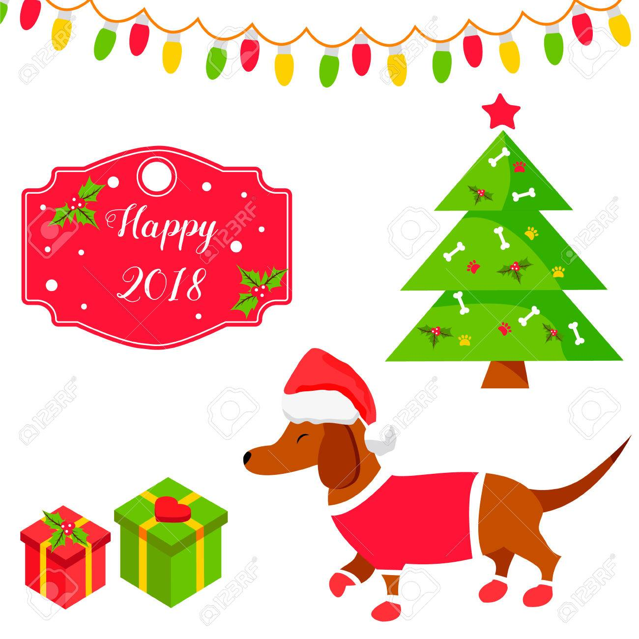 holiday dachshund dog and christmas scene christmas and new year background stock vector 87709348