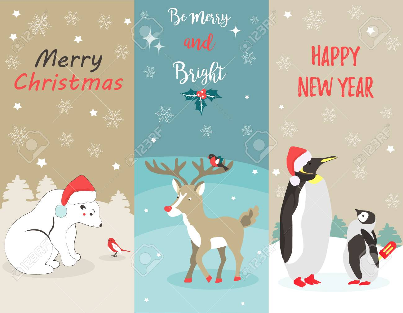 Set Of Holiday Greeting Cards With Polar Bear, Penguins, Deer ...