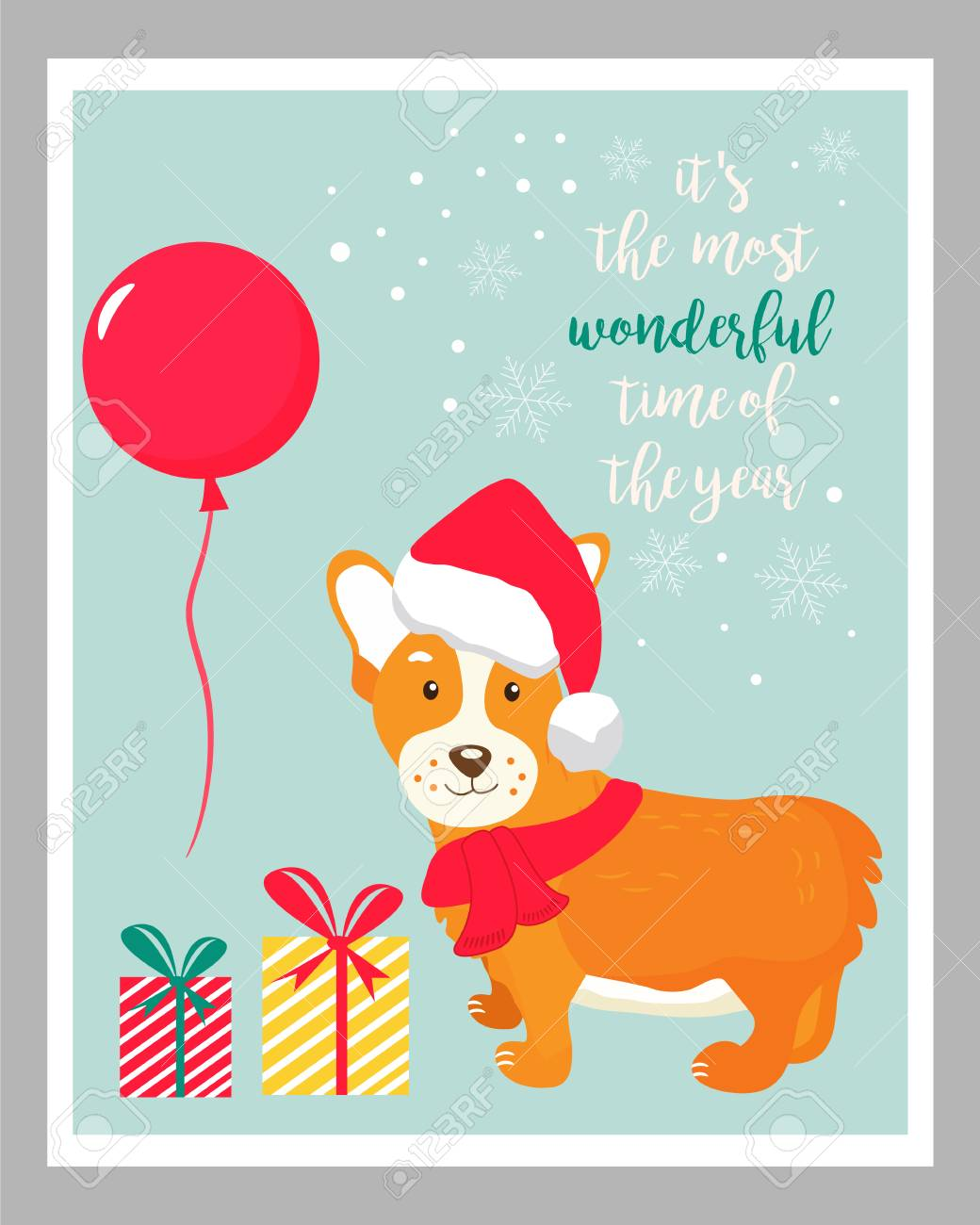Holiday Greeting Card With Cute Corgi Dog Royalty Free Cliparts
