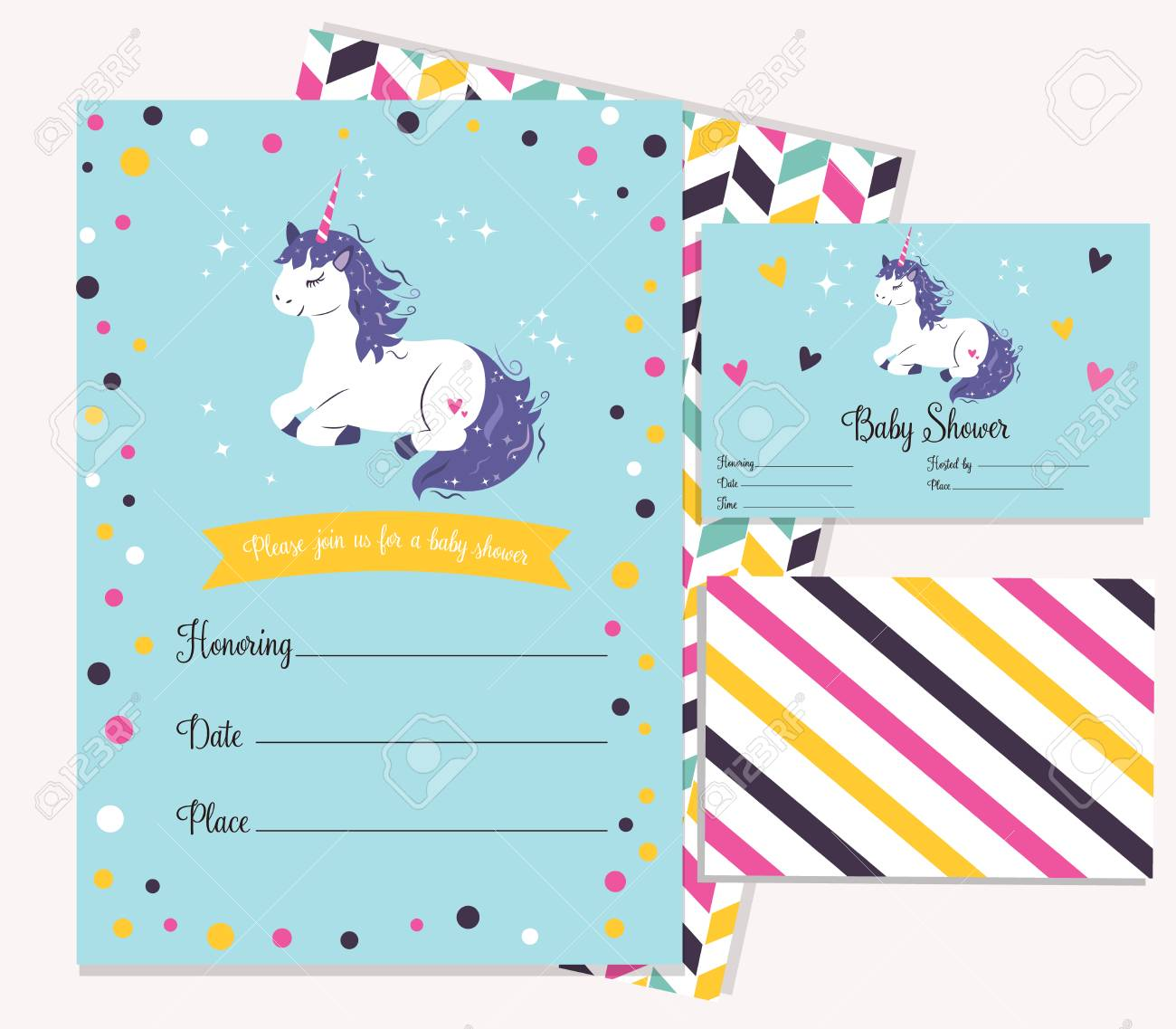 Baby Shower Invitation Template With Cute Unicorn Royalty Free