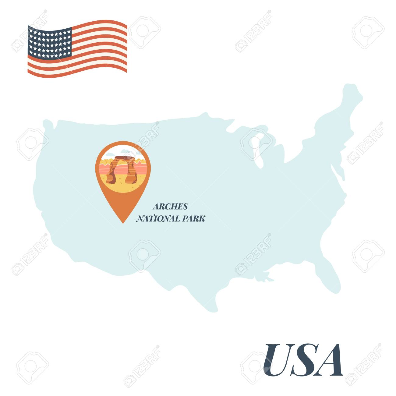 USA map with Arches National Park pin travel concept vector illustration.