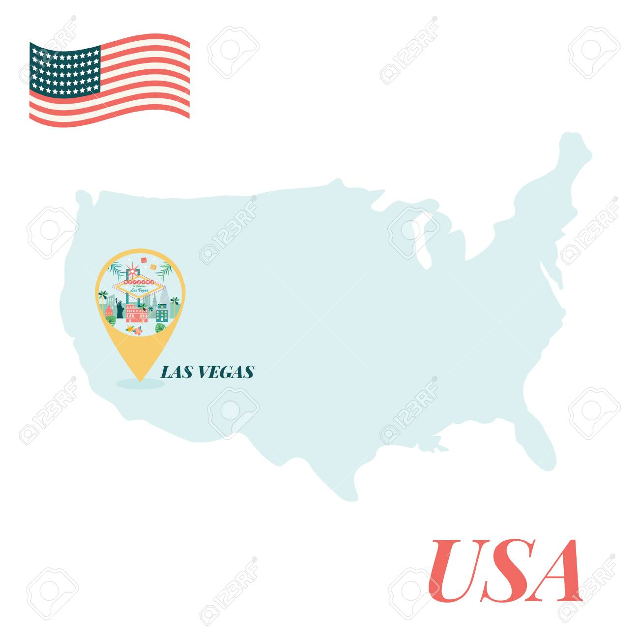 USA map with Las Vegas pin travel concept.