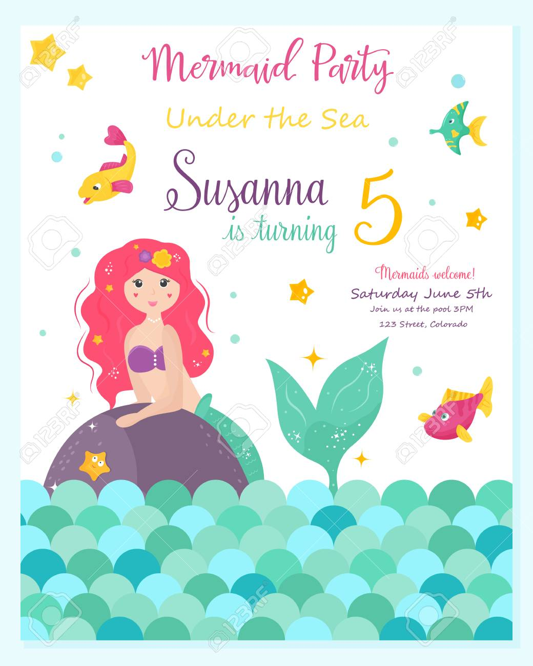 Bright invitation card with cute mermaid royalty free cliparts bright invitation card with cute mermaid stock vector 97990176 stopboris Gallery