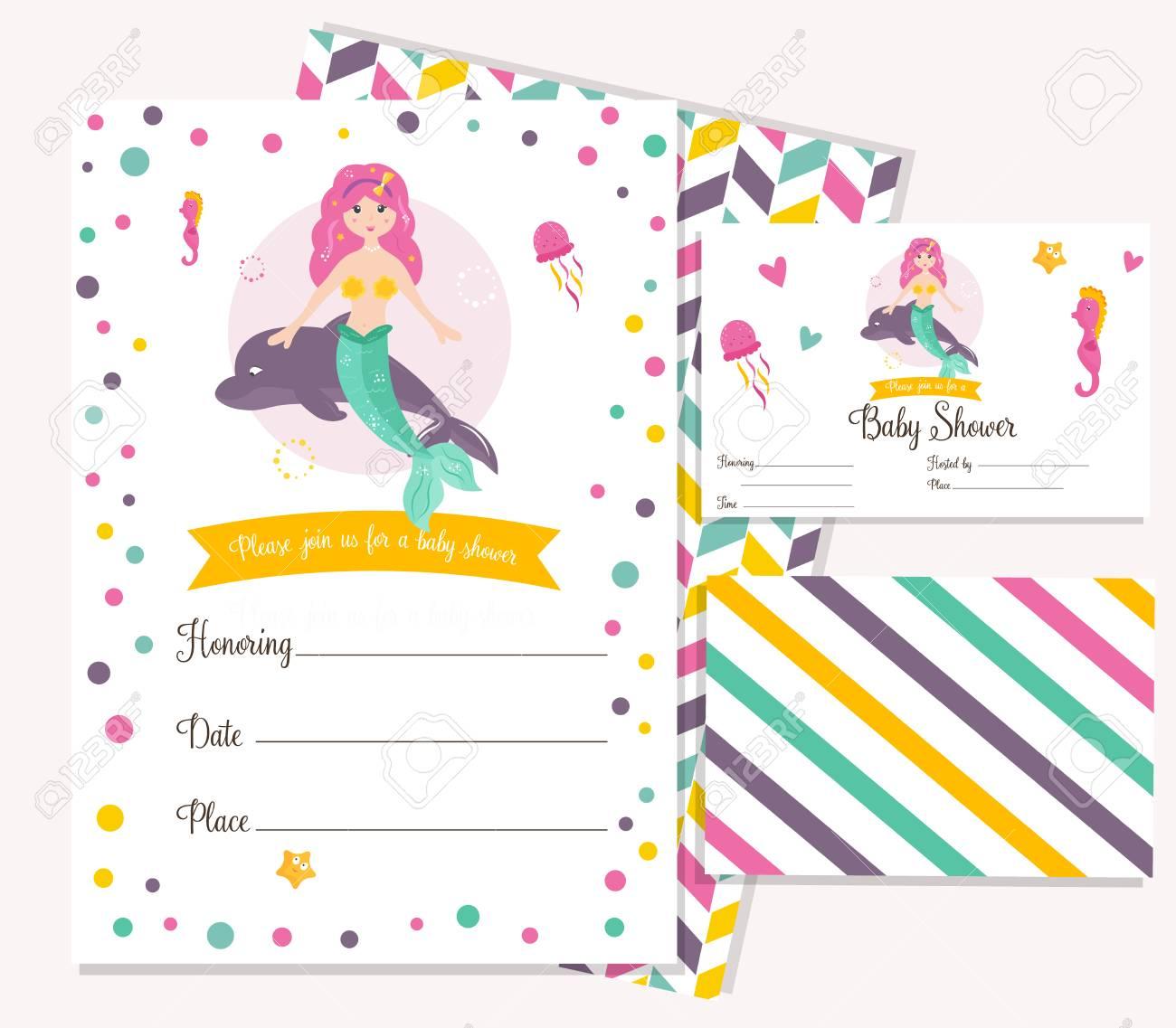 Bright Invitation Card With Cute Mermaid. Birthday Party Card ...