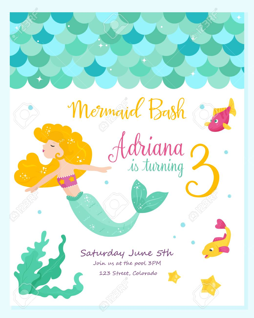 bright invitation card with cute mermaid birthday party card