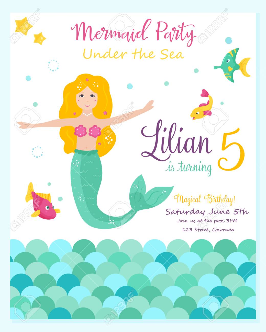 Bright invitation card with cute mermaid birthday party card bright invitation card with cute mermaid birthday party card template vector illustration stock vector stopboris