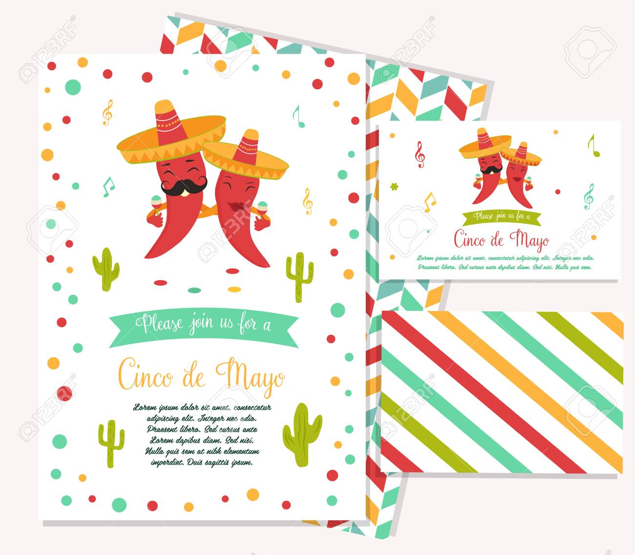 cinco de mayo poster template with bright mexican characters