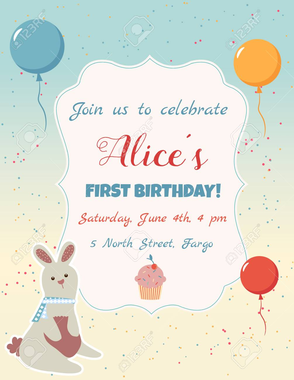 Happy Birthday Invitation Card With Balloons, Confetti And Cute ...