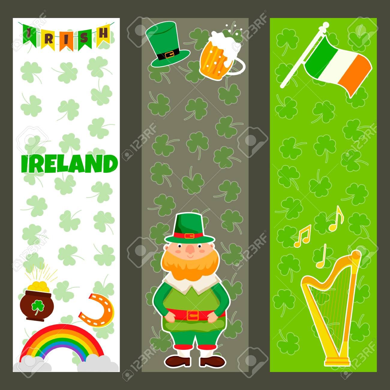 Three Irish banners with traditional symbols, characters and