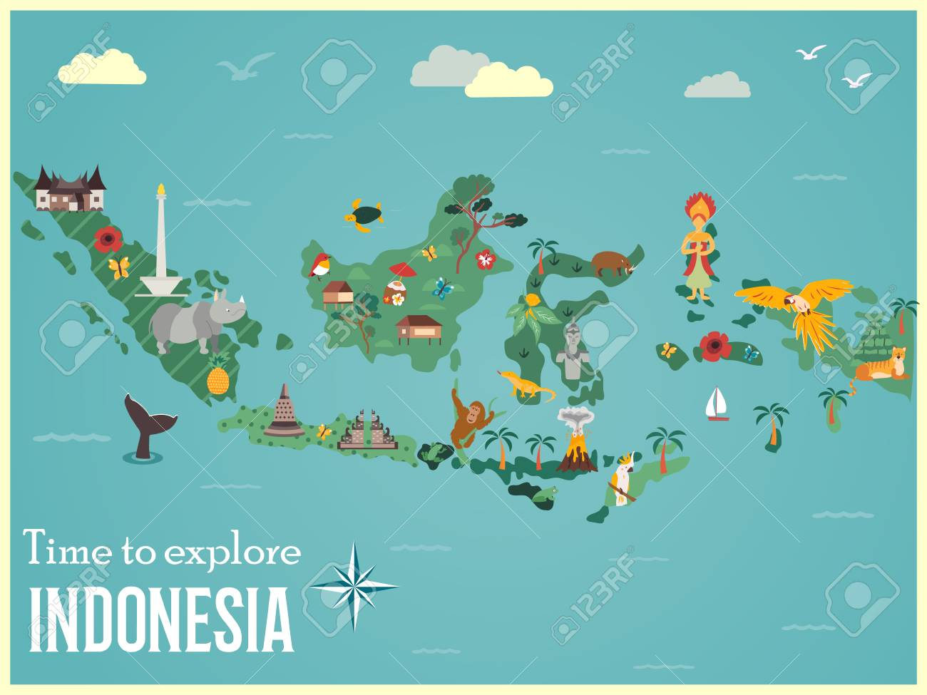 Indonesian map with animals and landmarks - 103945553