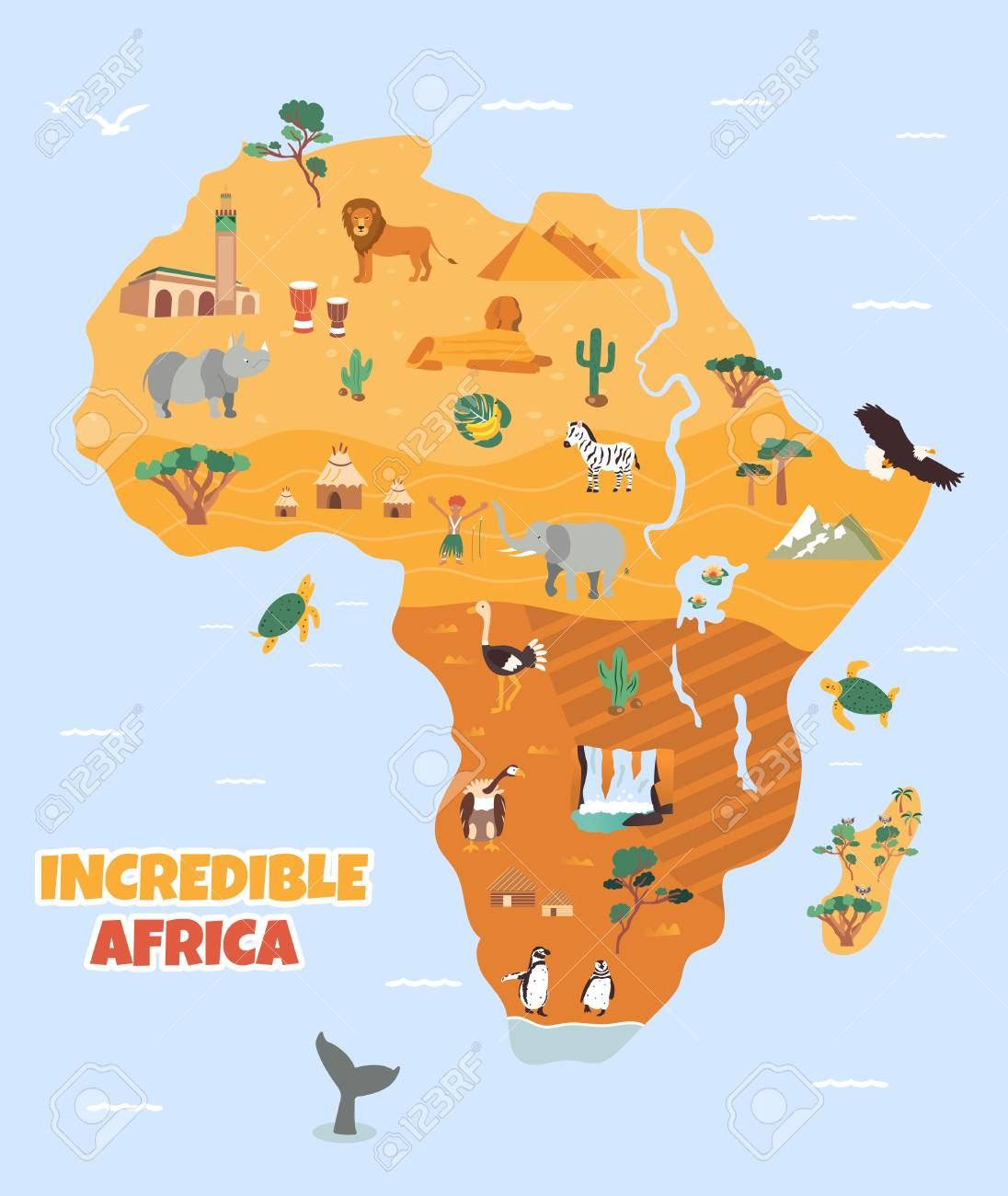 Bright Map With Famous African Destinations And Animals Royalty