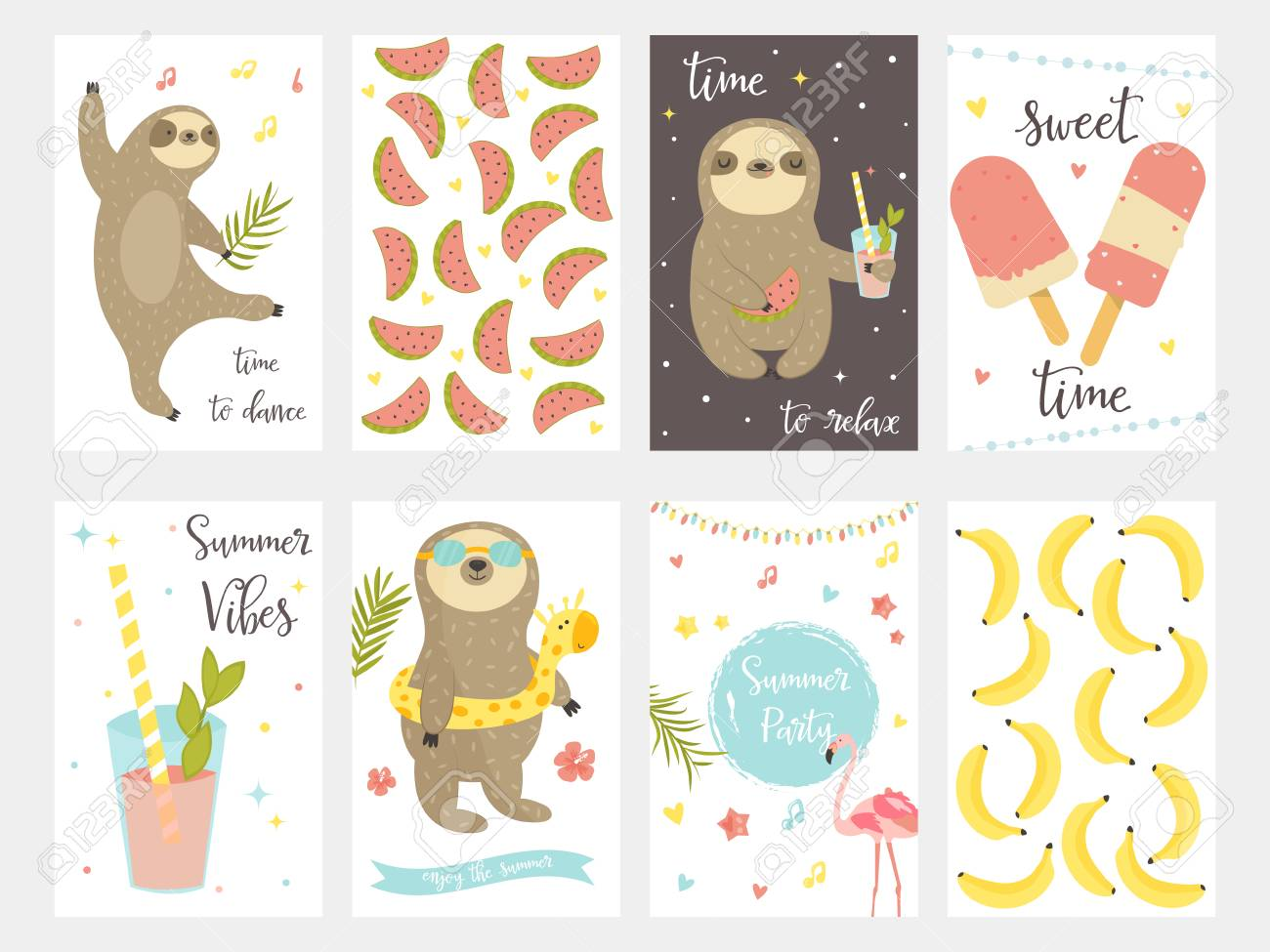 Sloth Collection Set Of Tropical Summer Cards For Party Birthday