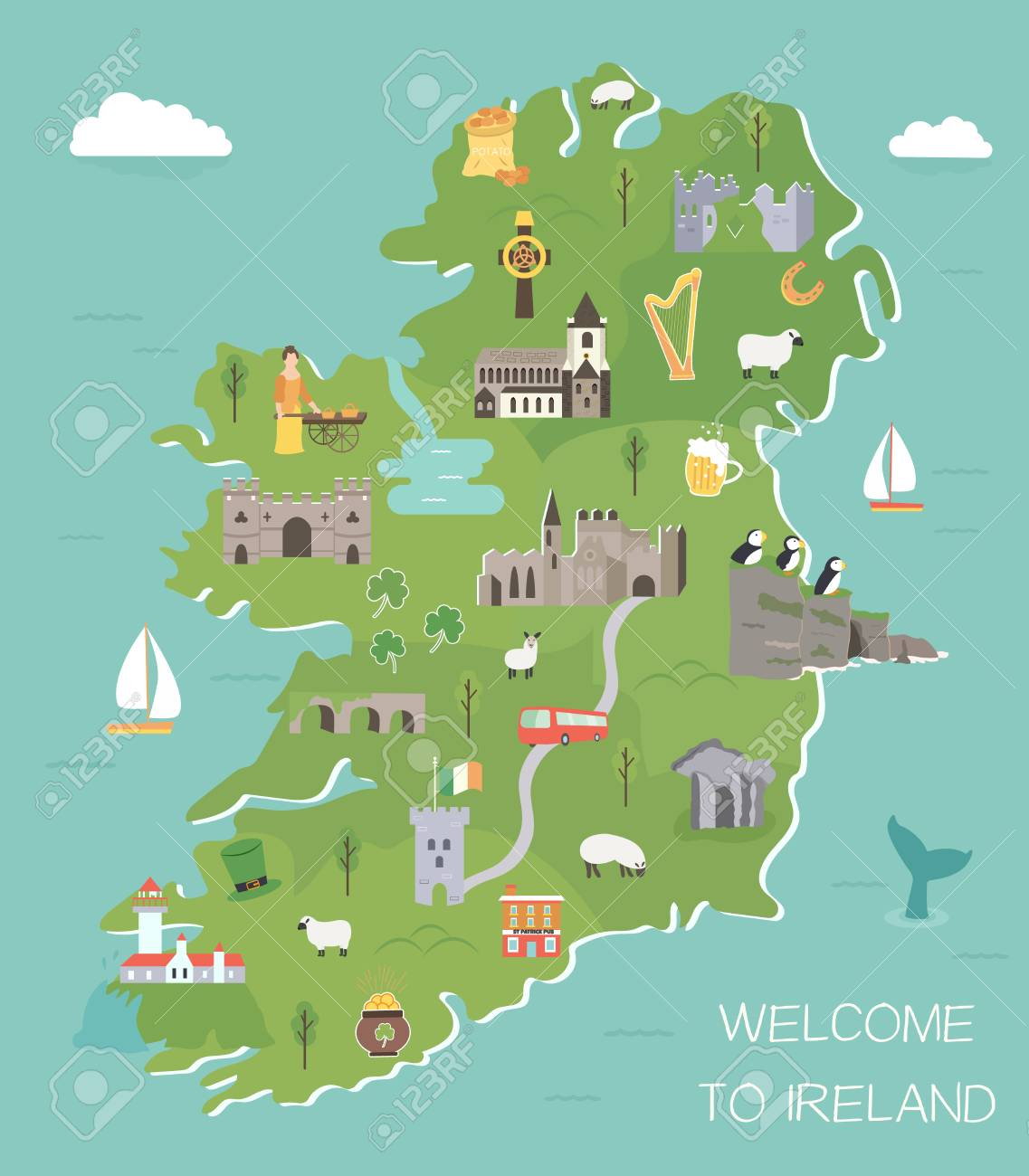 Images Of Map Of Ireland.Irish Map With Symbols Of Ireland Destinations And Landmarks