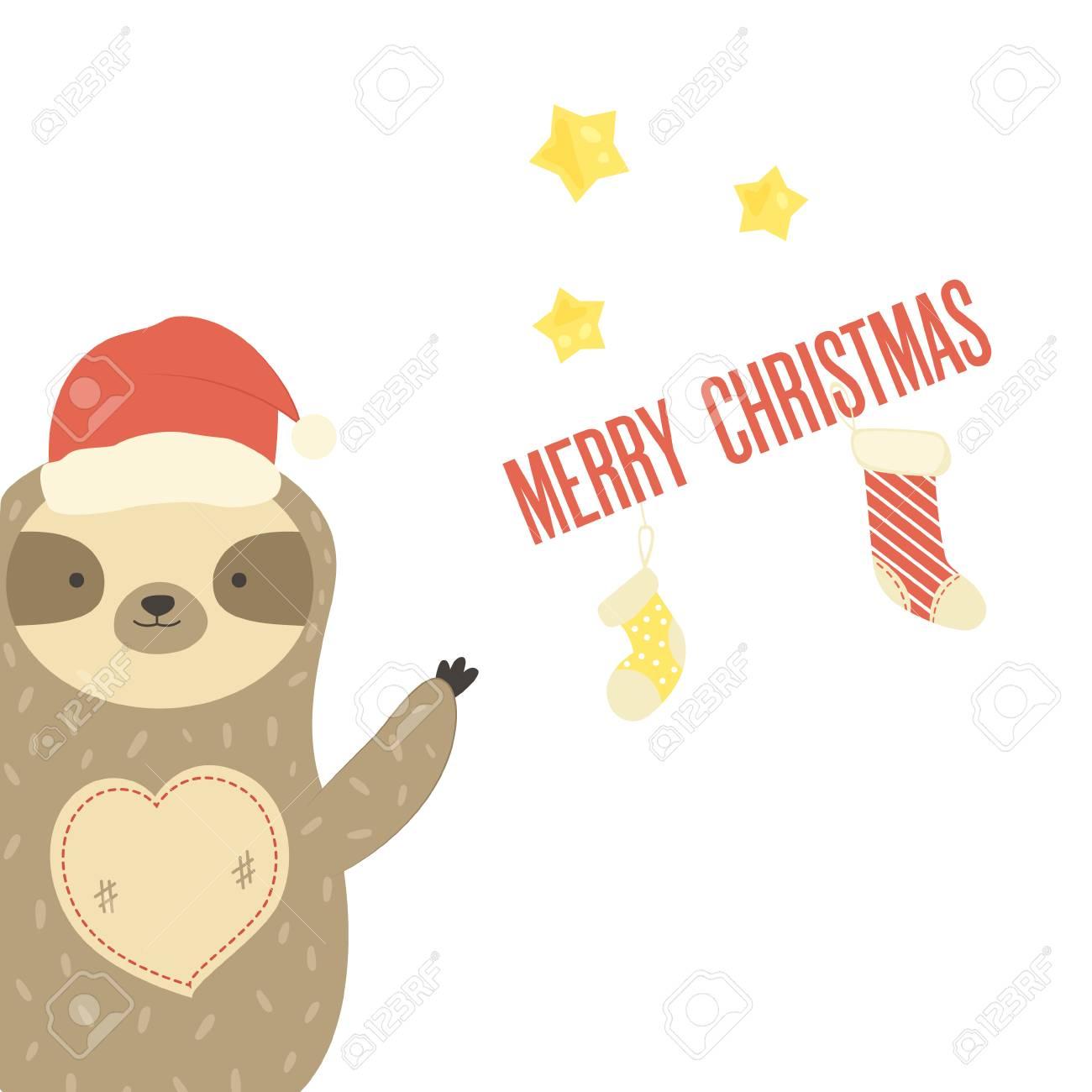 Christmas Sloth.Merry Christmas Card With Funny Sloth And Holiday Socks