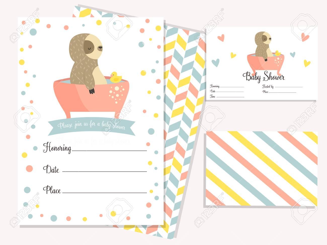baby shower invitation card with cute sloth in bath template