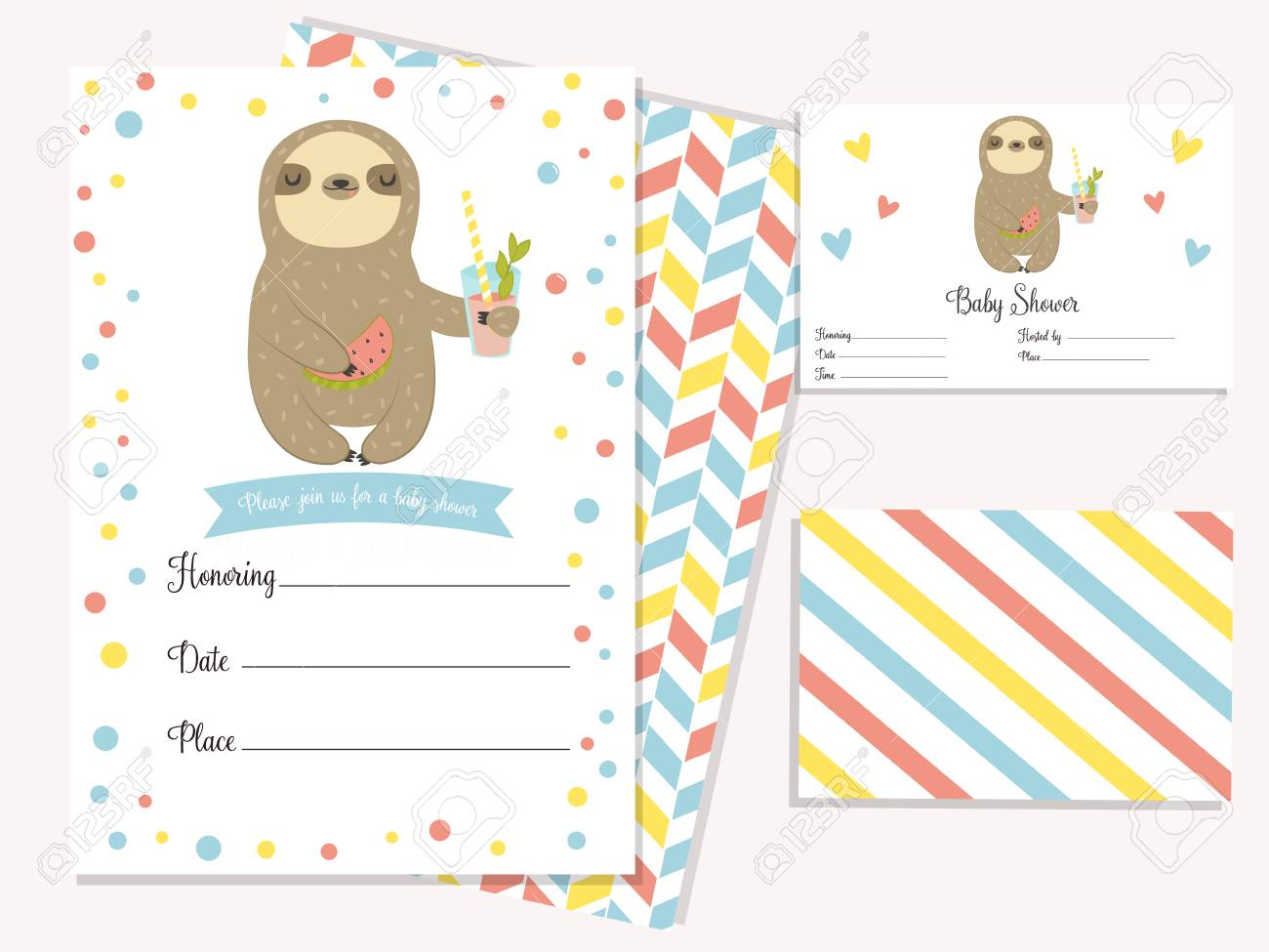baby shower invitation card with cute sloth template birthday