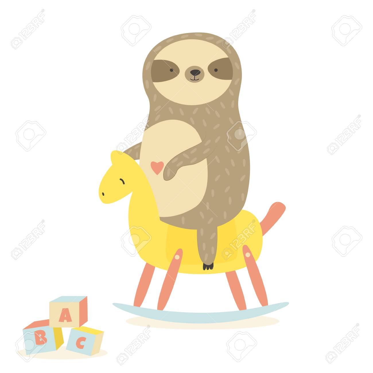 Cute Baby Sloth Swinging Rocking Horse Animal Character Design Stock Photo Picture And Royalty Free Image Image 110628865