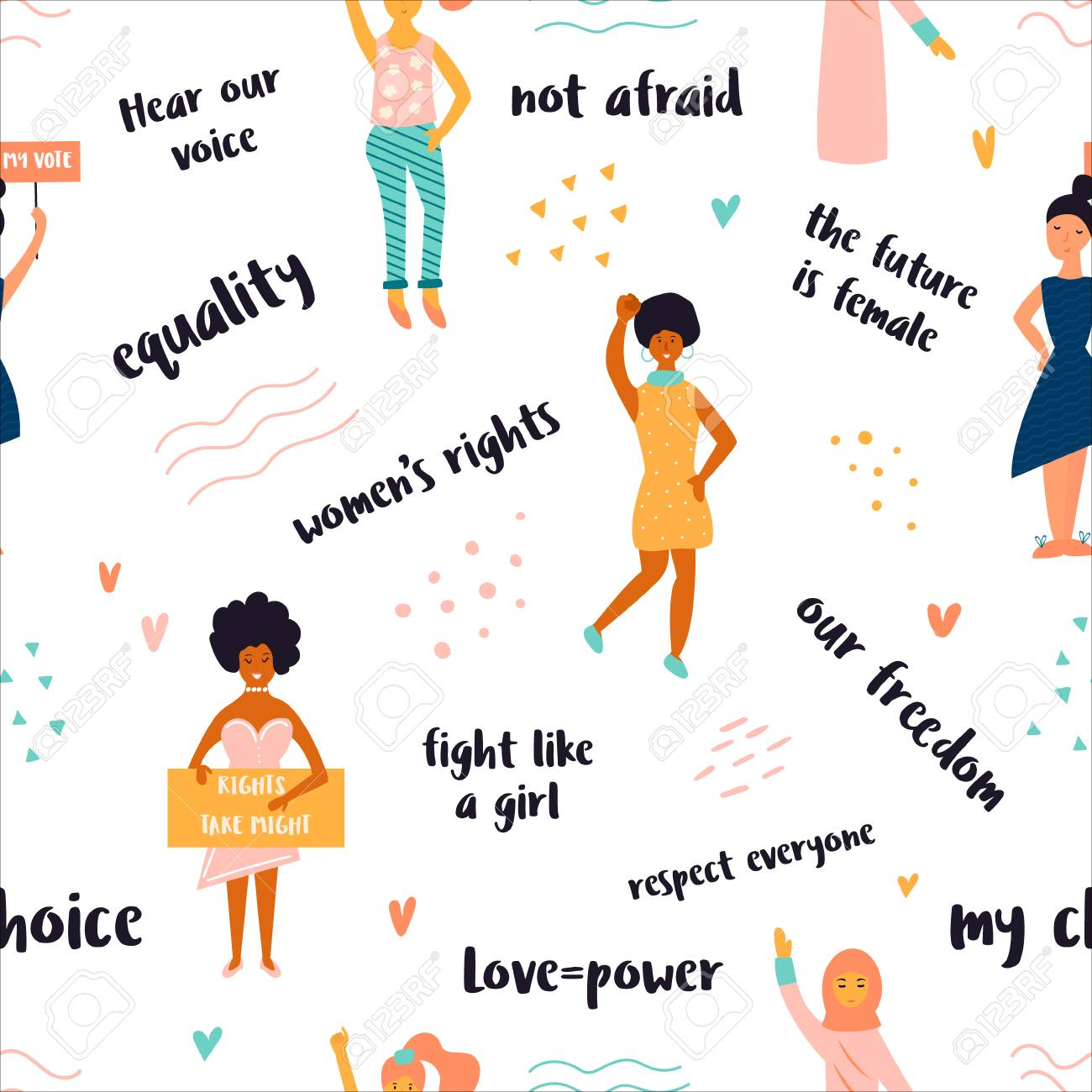 Vector seamless pattern of striking women and different quotes. Concept of feminism, girl power, movement, female equality, equal social and civil right. - 127325400