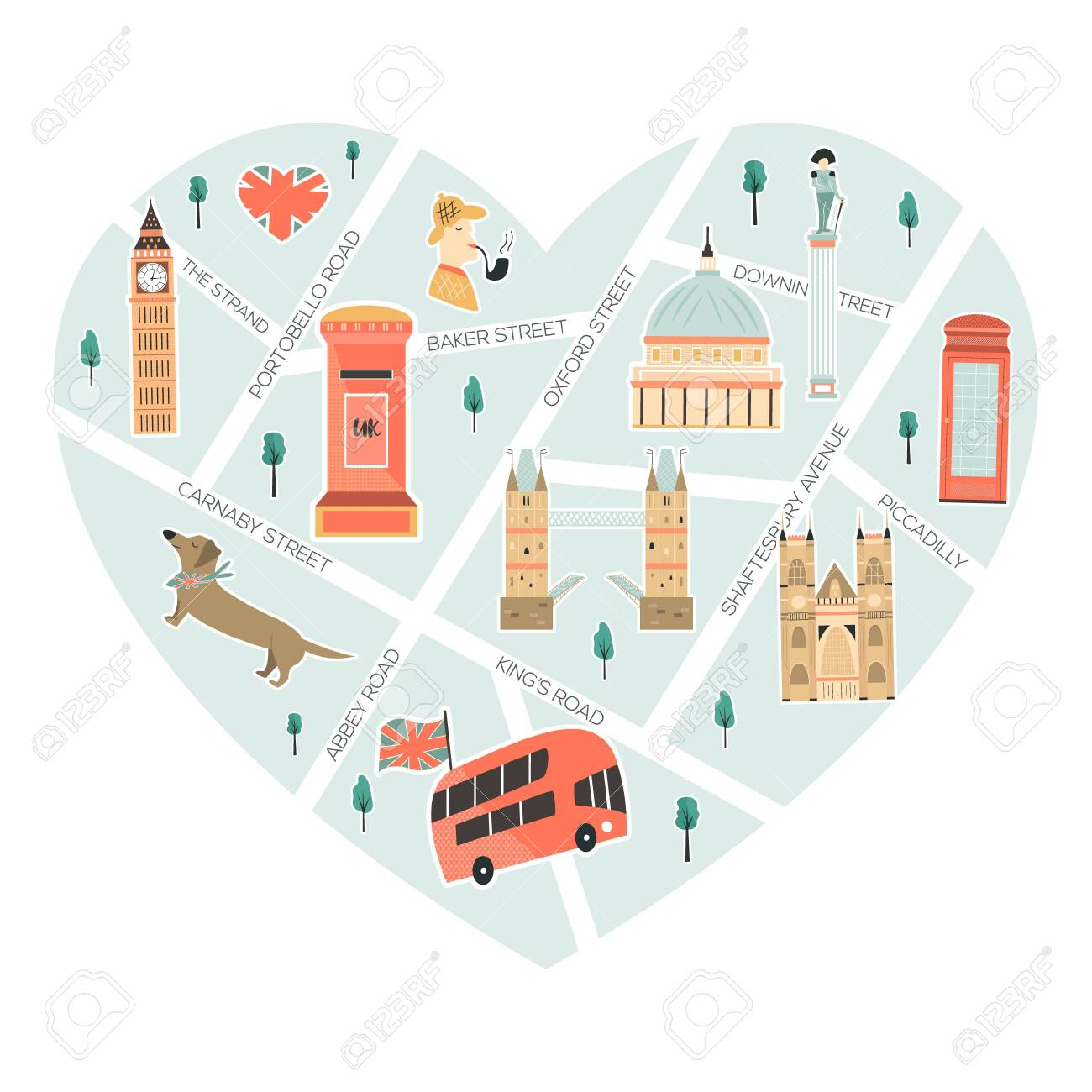 Map Of Landmarks In London.Illustrated Map Of London With Landmarks Symbols