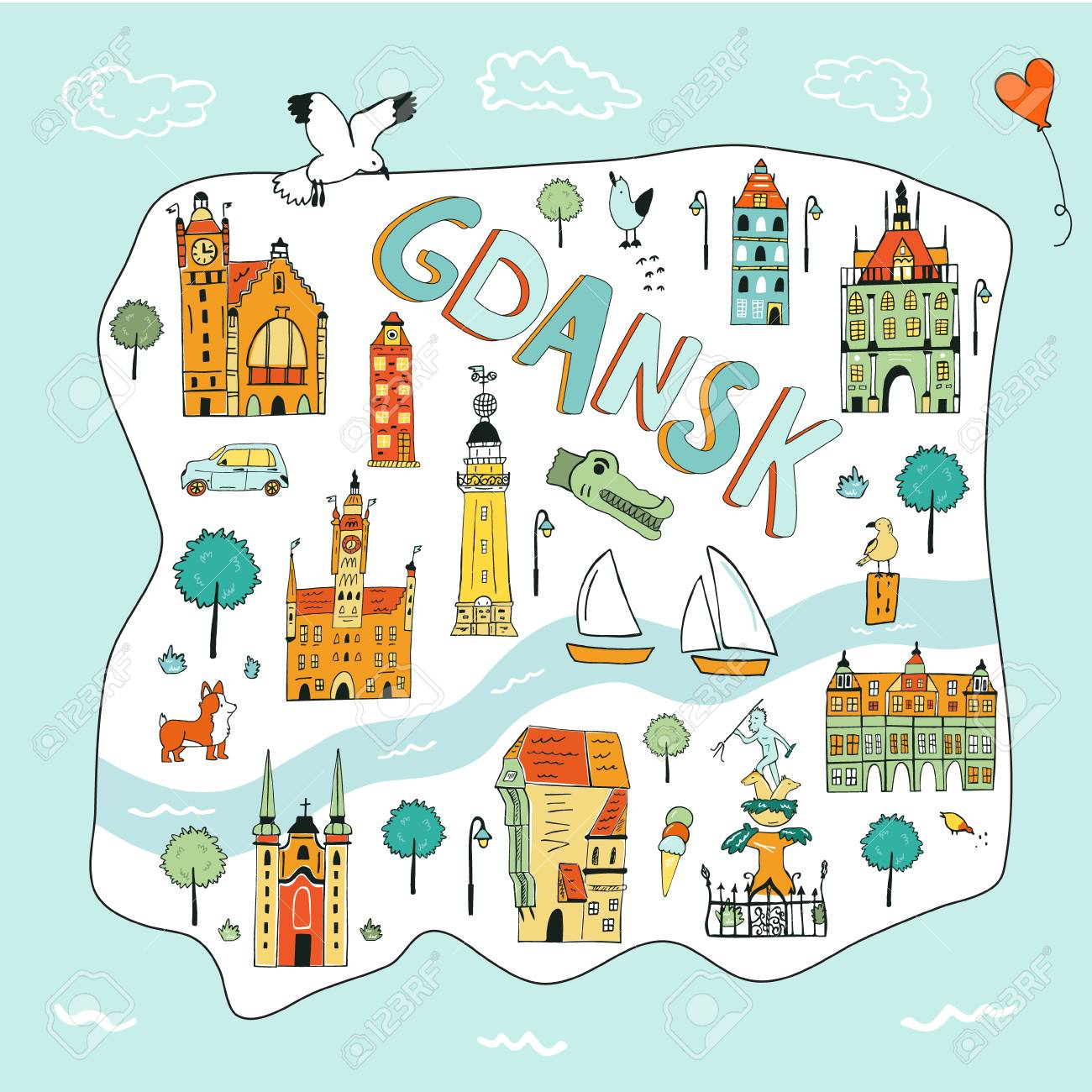 Hand drawn illustrated map of Gdansk with tourist attractions... on illustrated wedding map, illustrated beach map, illustrated island map,