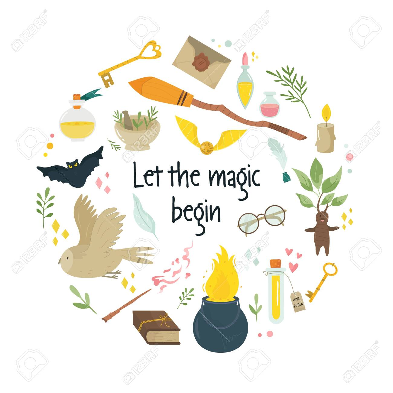 Magic abstract circle design with medieval fairy items, symbols cauldron broom, flask with potions, owls. Vector banner, poster, cover - 133361629