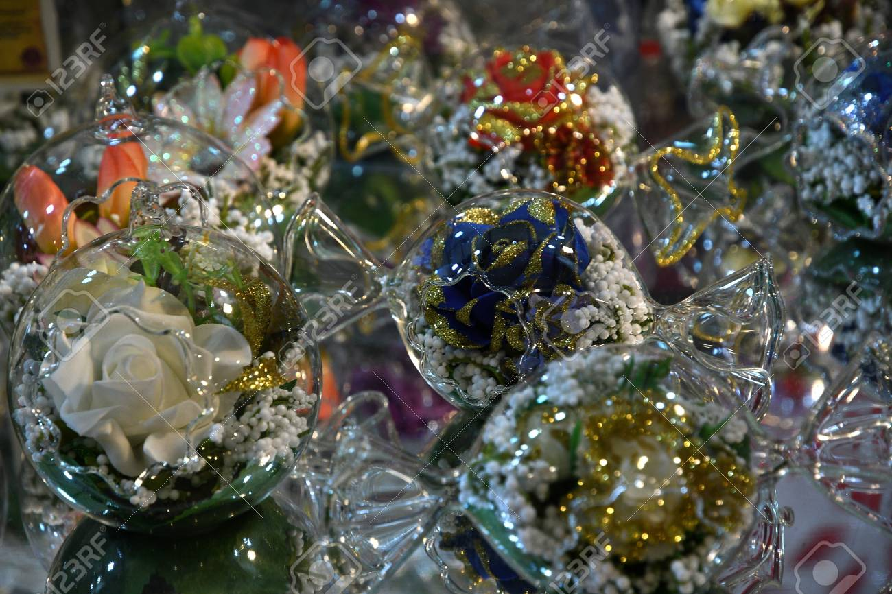 Christmas Ornaments And Decorations In A Market