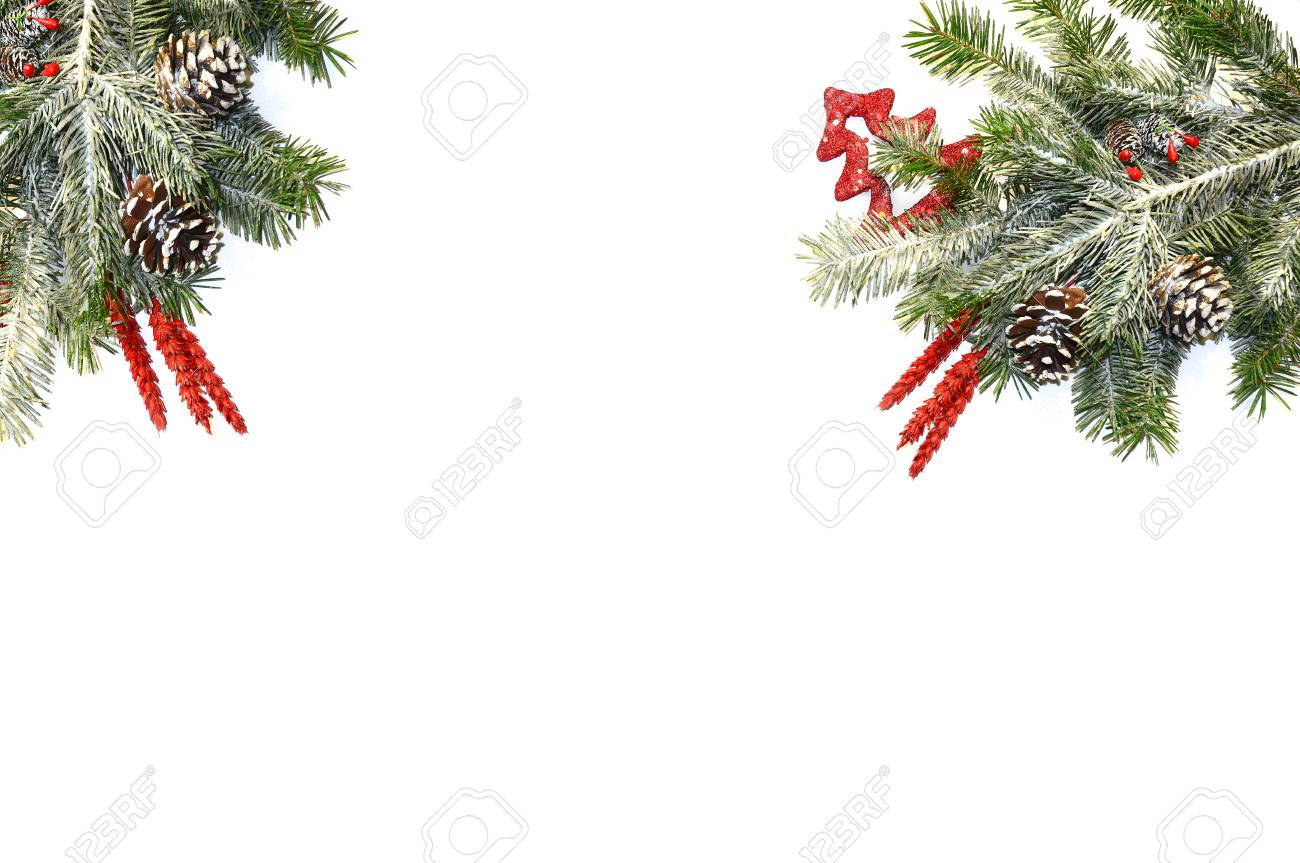 Christmas Background With Fir Tree And Decor On White Xmas Background Stock Photo Picture And Royalty Free Image Image 113059547