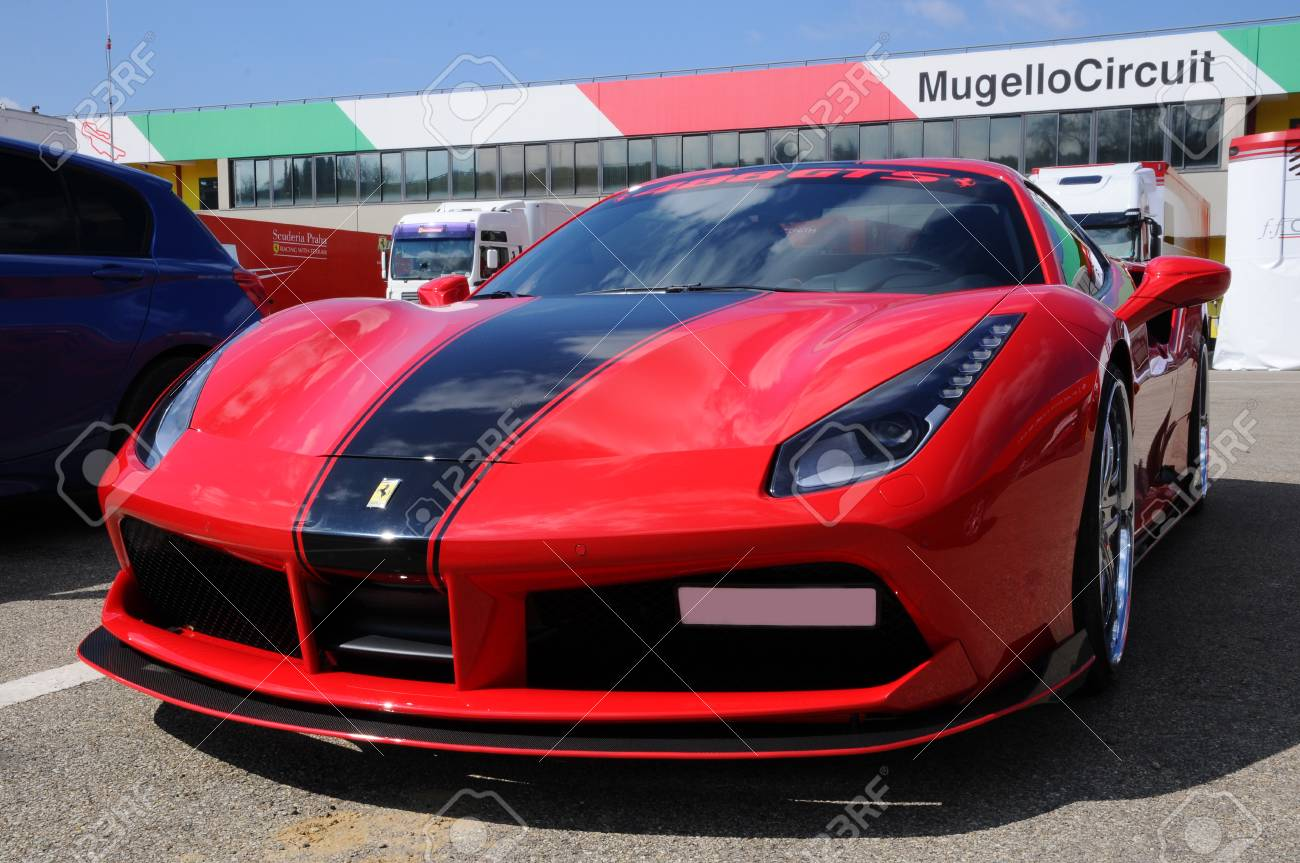 Scarperia (Florence), Italy - March 2018: Ferrari car in the..