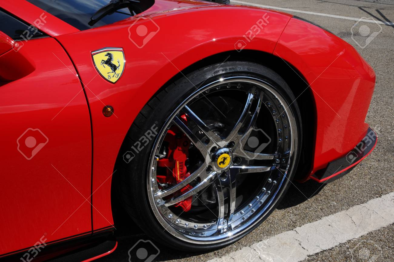 Scarperia Florence Italy March 2018 Ferrari Logo On Sport Stock Photo Picture And Royalty Free Image Image 112941134
