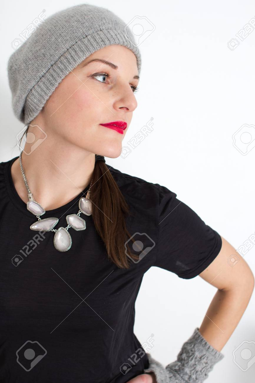 Woman With A Red Lipstick Looking To The Side In A Confident Way Stock Photo - 11584188