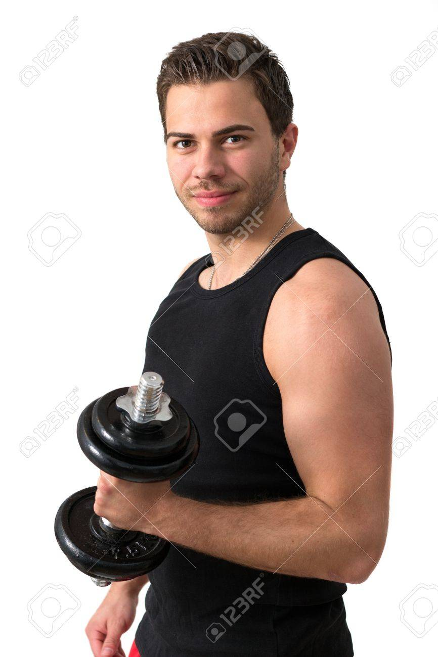 Young attractive man pumping weights in a black tank top Stock Photo - 14158750