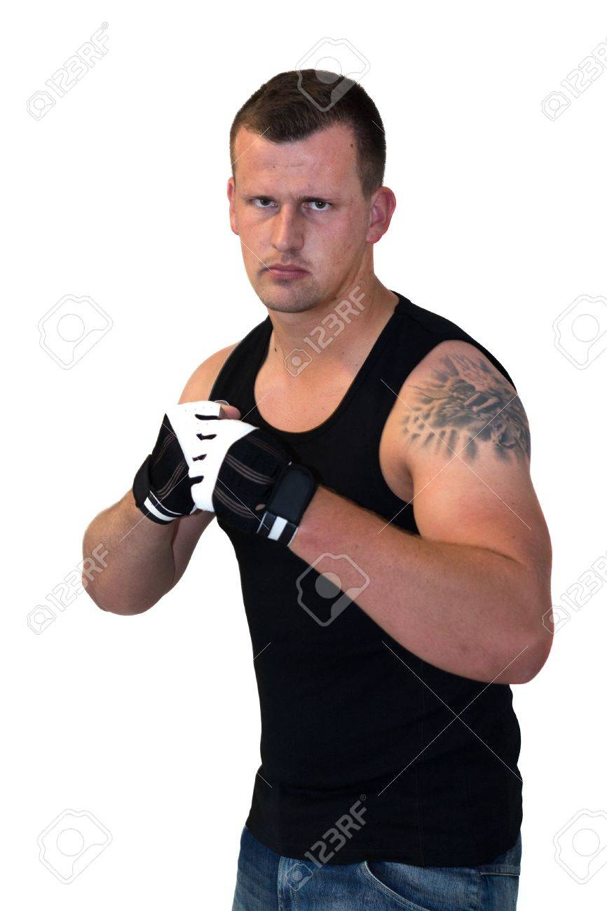 Young Boxer looking into Camera and ready for a fight Stock Photo - 14748967