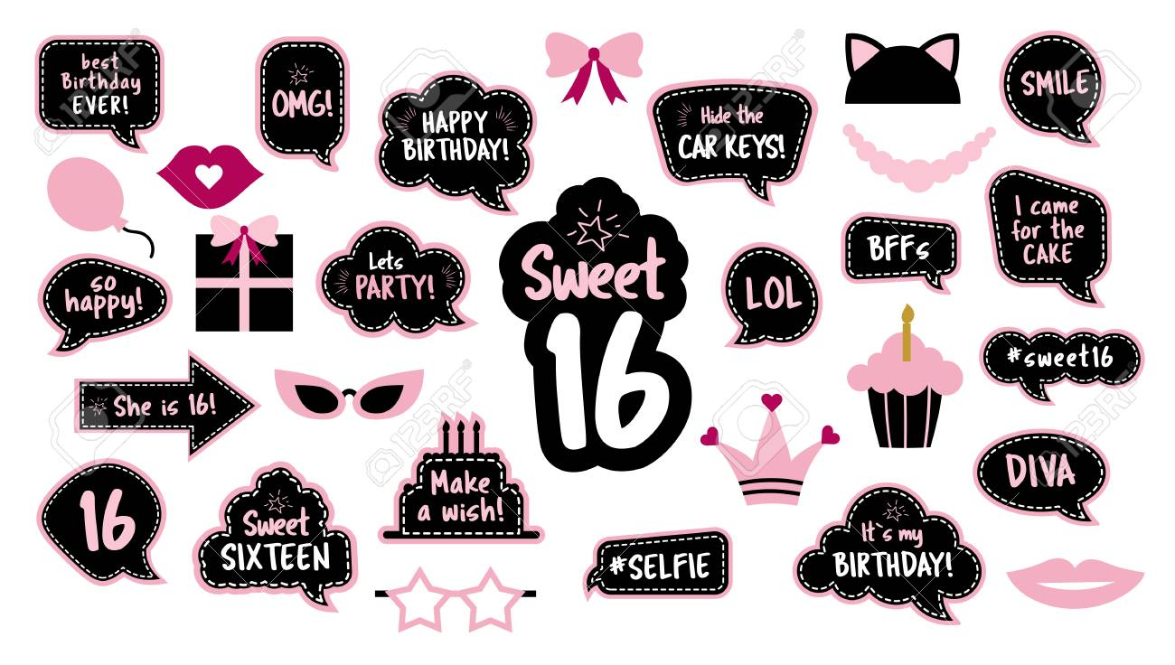 16th Birthday Photobooth Props Set For Sixteen Royalty Free Cliparts