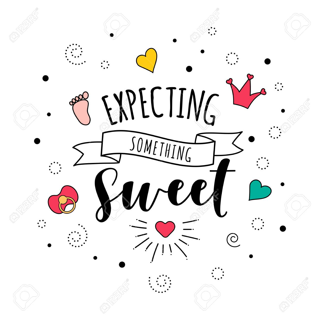 Expecting Something Sweet Pregnancy Baby Quote Lettering Stock Photo Picture And Royalty Free Image Image 107001403