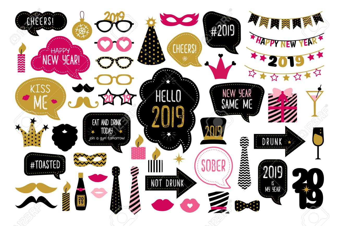 Happy New Year 2019 Photo Booth Props New Year Party Christmas