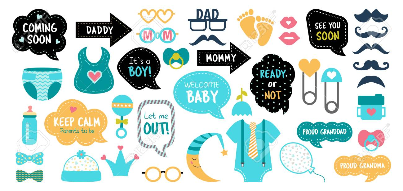 Baby Shower Photo Booth Props Happy Birthday Party For Boy Royalty Free Cliparts Vectors And Stock Illustration Image 125986571
