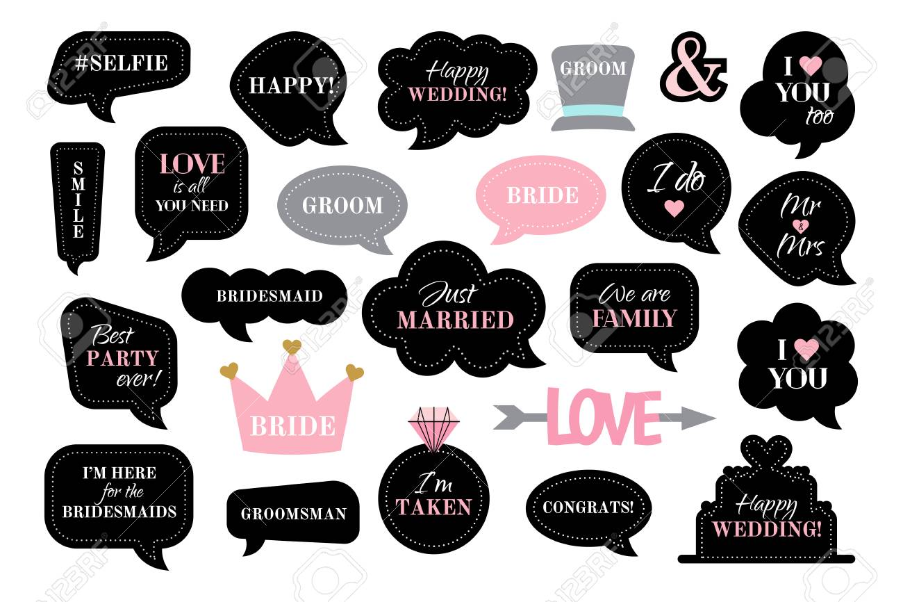 Photo booth props for wedding party. Vector speech bubbles with..