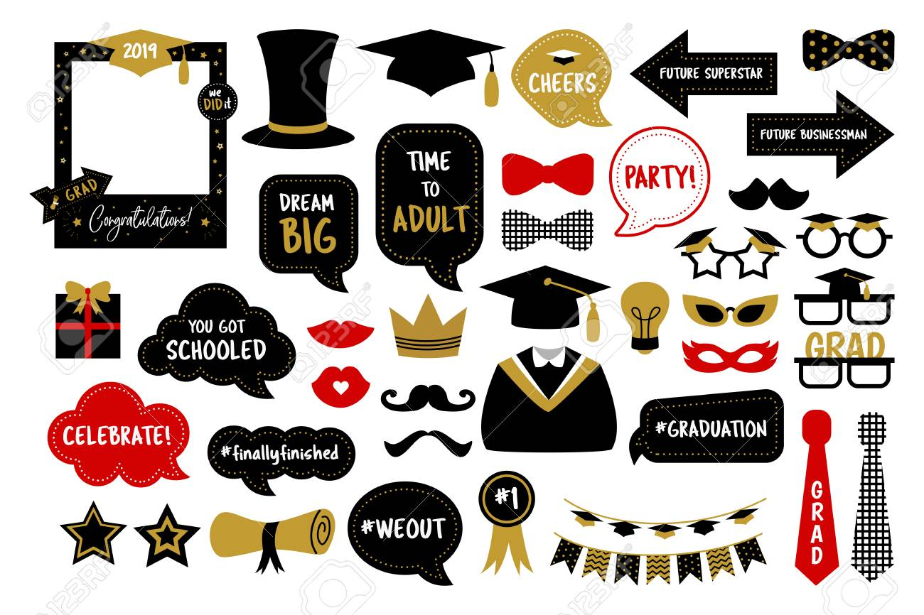 photo about Free Printable Graduation Photo Booth Props titled Photograph booth props for commencement get together photobooth