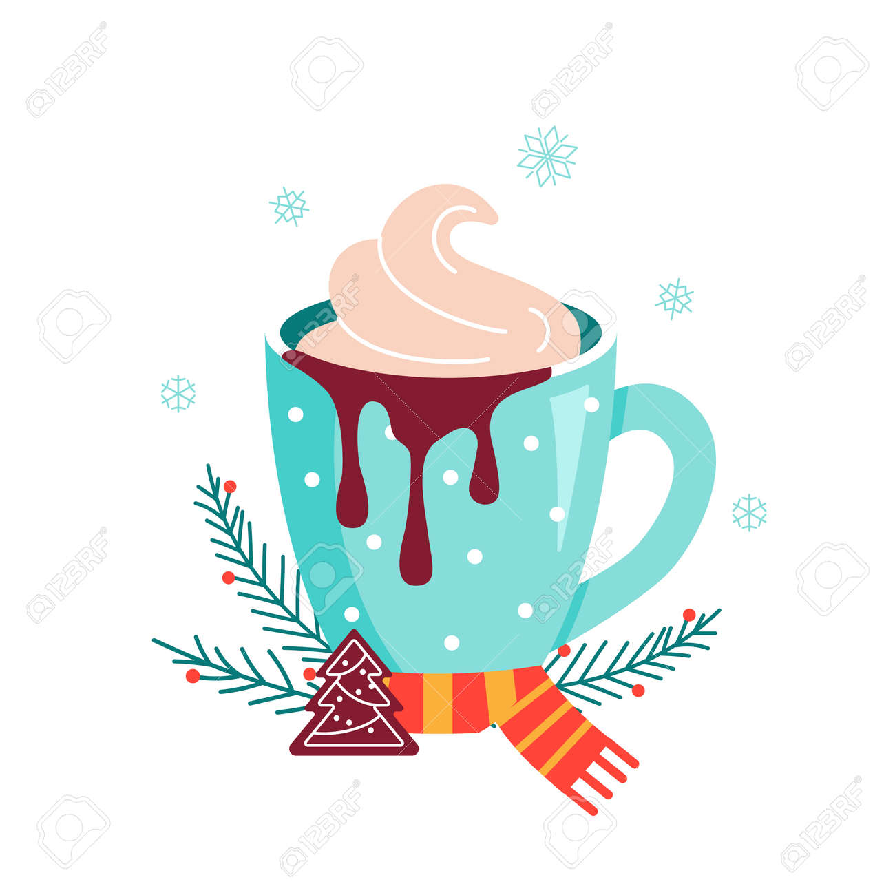 Christmas hot chocolate with cookie and candy - 161246905